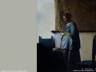 обои Ян Вермер - Женщина, читающая письмо фото