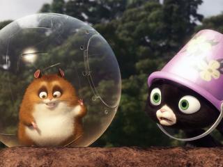 """обои Хомяк в шаре и кошка """"Вольт"""" фото"""