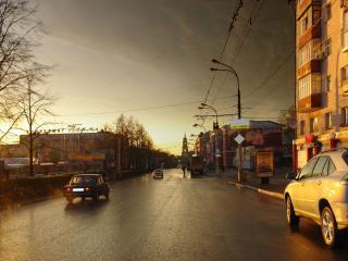 обои Город в свете вечернего солнца фото