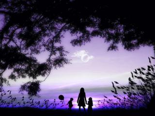 обои Девушка с детьми на фоне заката фото