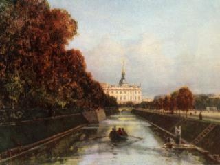 обои Вид с Лебяжьей канавки на Михайловский замок в Петербурге фото