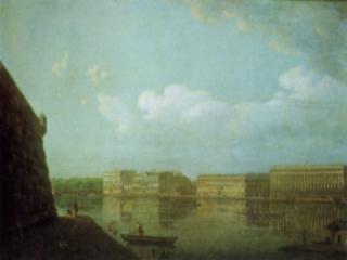 обои Ф. Алексеев - Вид на сооружение дворца из Петропавловской крепости в Санкт-Петербурге фото