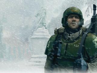 обои Патруль у памятника генералу фото