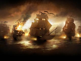обои Морская баталия кораблей фото