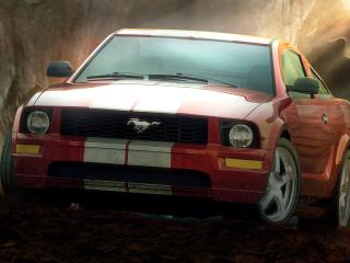 обои для рабочего стола: Красный и быстрый Форд Мустанг