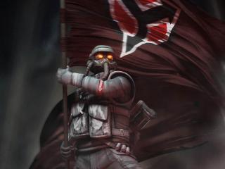 обои С боевым знаменем над головой фото