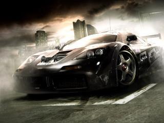 обои Чёрная молния в виде машины фото