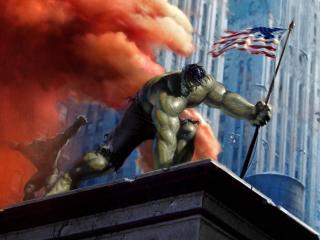 обои для рабочего стола: Бесподобный Халк и американский флаг