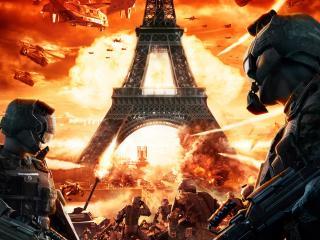 обои Бомбёжка Эйфелевой башни фото