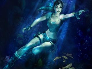 обои Лара Крофт спряталась под водой фото
