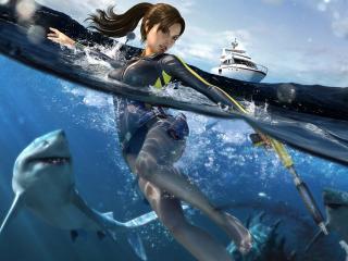 обои Лара Крофт и водные хищники фото