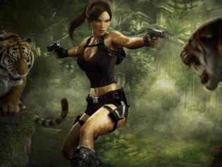 обои Лара Крофт в окружении хищников фото