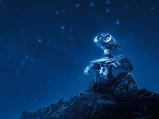 обои Романтичный робот смотрит на звёзды фото