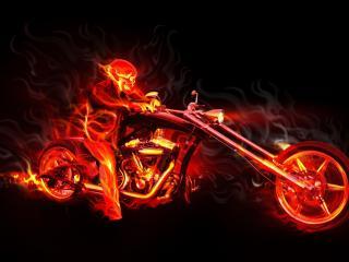 обои Огненный мотоциклист фото