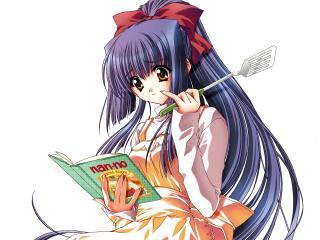 обои Девушка с поваренной книгой фото