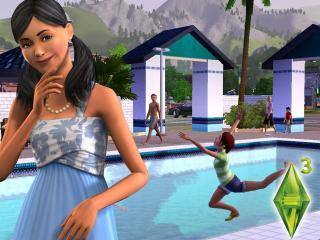 обои The Sims 3 - девочка прыгает в бассейн фото
