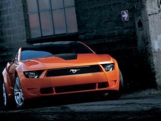 обои для рабочего стола: Ford Mustang Giugiaro оранжевый