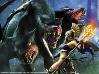обои Titan Quest воин против цербера фото