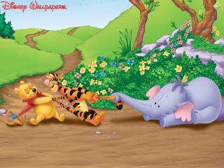 обои Слонёнок, Винни-Пух, Тигра и Ру фото