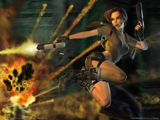 обои Взрыв и летящая Лара фото