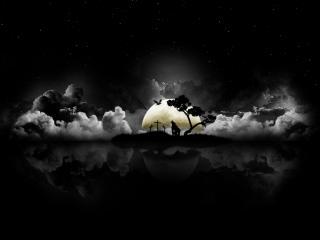обои Человек волк воет на луну фото