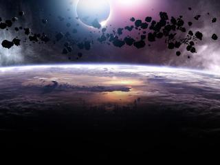 обои Вид на планету с орбиты фото