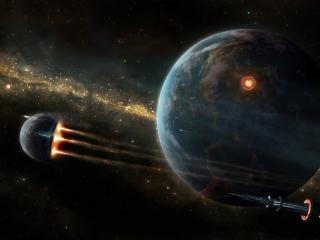обои Космические корабли над Землей фото