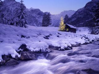 обои Австрия, Обернберг в Рождество фото