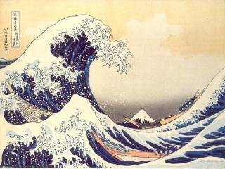 обои Hokusai Katsushika - Under the Wave off Kanagawa фото