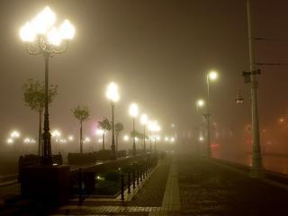 обои Фонари в тумане фото