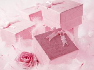 обои Розовые подарочные коробки фото