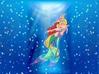 обои Русалочка Ариэль и королева русалок фото