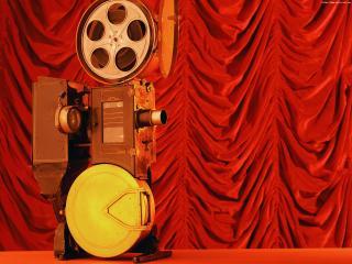 обои Ретро-Кинопроектор на фоне занавеса фото
