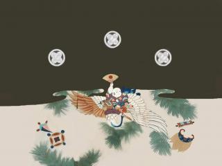 обои Кимоно - Хоттей летит на птице фото