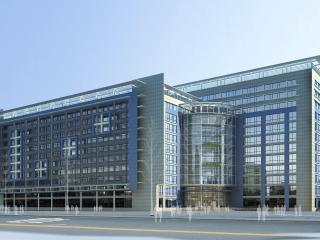 обои Архитектурный эскиз синего коммерческого центра фото