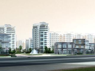обои Архитектурный эскиз провинциального жилого комплекса фото