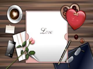 обои Сердечко на рабочем столе с розой фото
