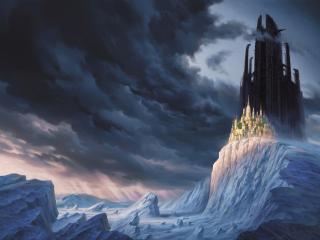 обои Тёмный и светлый город на горе фото