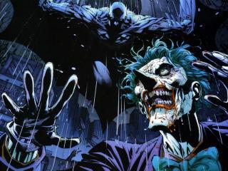 обои Bat and Joker нападение сверху фото