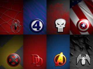 обои Marvel Comics логотипы героев фото