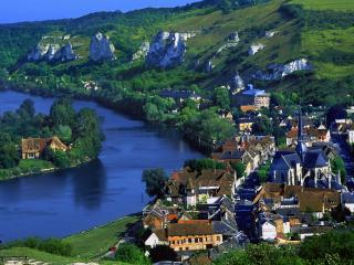 обои Дома вдоль реки, Франция фото