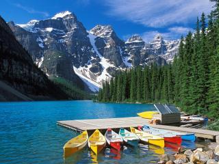 обои Маленький причал у гор, Канада фото
