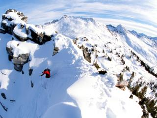 обои Лыжник спускается с гор, Канада фото