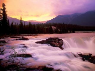 обои Водопад в лучах заката, Канада фото