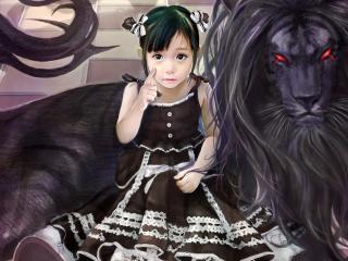 обои Девочка возле зловещего льва фото