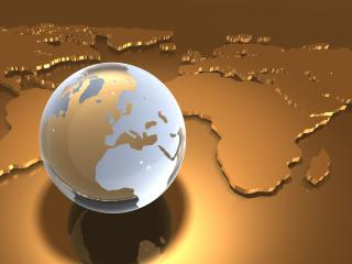 обои для рабочего стола: Прозрачный глобус земли на золотой карте