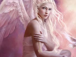 обои Девушка ангел и голубь фото
