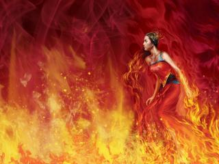 обои Девушка в пламени фото