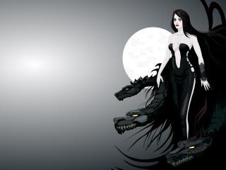 обои Девушка в черном с драконами при свете луны фото