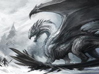 обои Бой с большим драконом фото